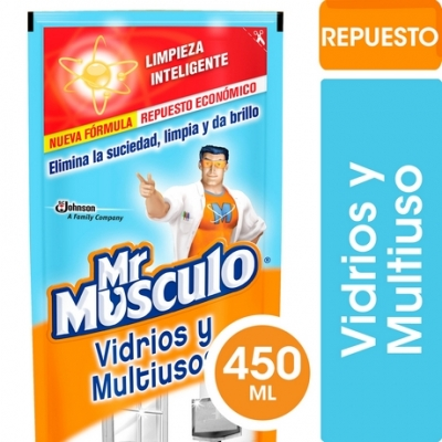 Limpiador Mr MUSCULO Vidrios Doypack x 450 ml