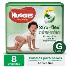 Pañales HUGGIES Active Sec G x 8 Unidades