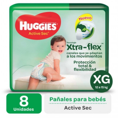 Pañales HUGGIES Active Sec XXG x 8 Unidades