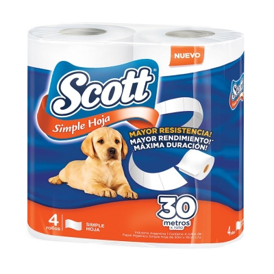 Papel Higienico SCOTT - Hoja Simple 4x30